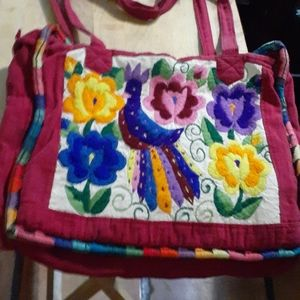 Woman's cloth embroidered flower design purse